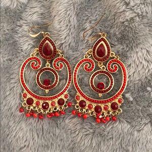 Jewelry - Red boho earrings